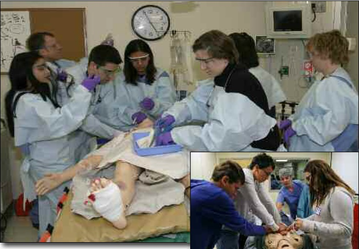 Figure 2 (top): Trauma team members work together to save a life ... in simulation. Figure 3: Students interested in medical careers participate in emergency code training, practicing basic and advanced life support skills.