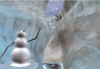 Figure 2: Screenshot image of the user's view of SnowWorld® during immersive virtual reality distraction. Virtual world designed/developed by Hunter Hoffman and David Patterson, with software created by Firsthand Technologies. (copyright Hunter Hoffman, University of Washington)