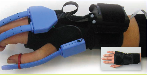 Figure 1. Overview of the SpiderGlove. Bottom right: fabric unit. Main: Electronics attached with velcro and finger rings.