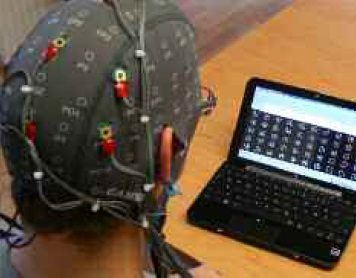 Figure 1: Intendix running on the laptop and user wearing the active electrodes.