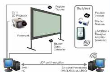 Figure 3: Components of a Virtual Reality system linked to a BCI system.