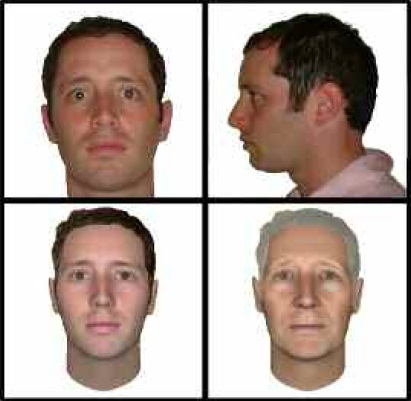 Figure 2: A participant's photographs (top) are used to create a virtual doppelgänger (bottom left), which can be aged (bottom right) or otherwise transformed to achieve health outcomes